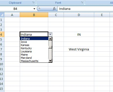 State Abbr with Index+Match+Validation
