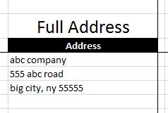 Extract Address into table
