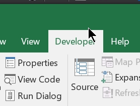 Show developer tab