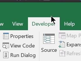 Show developer tab